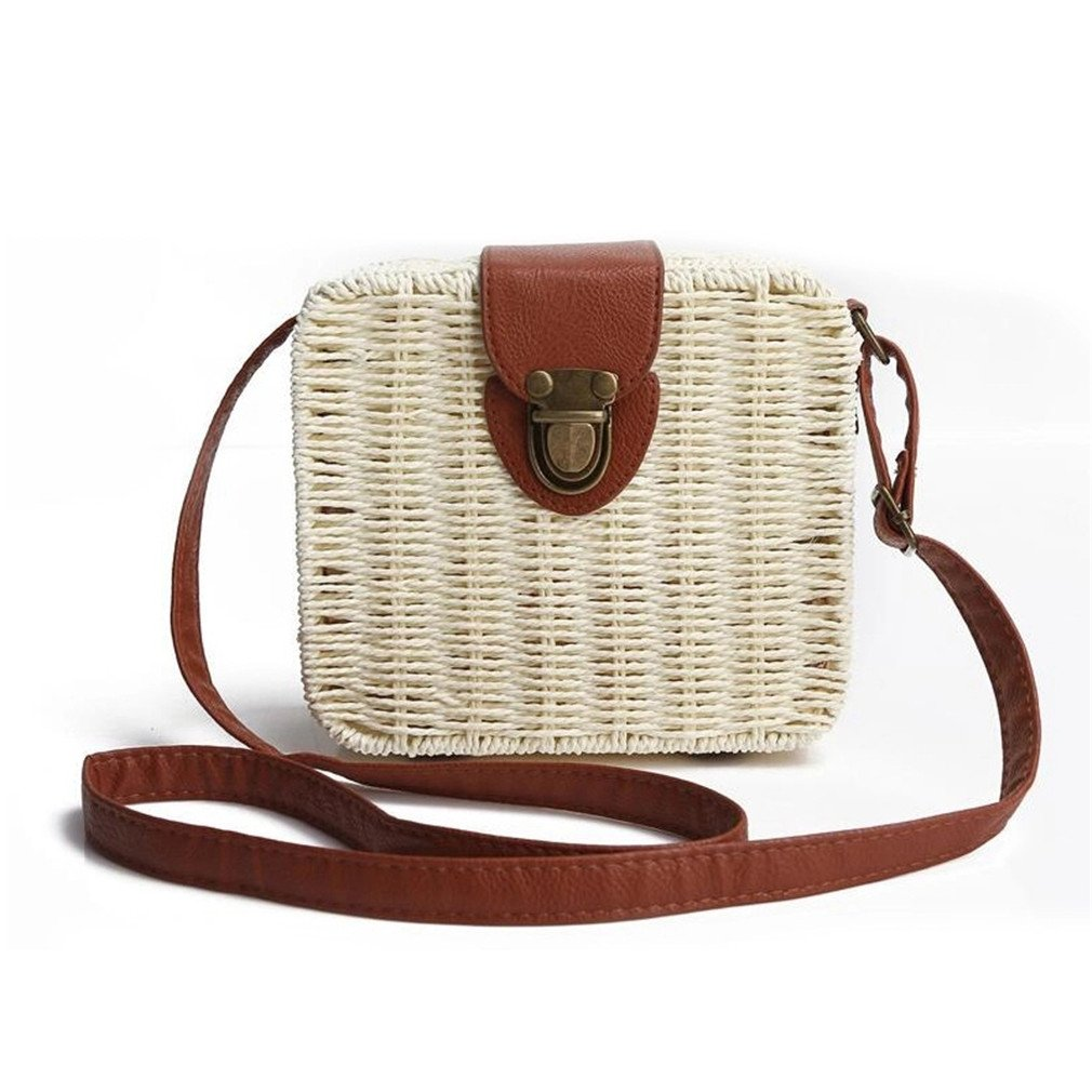 Nodykka Retro Portable Summer Straw Classic Beach Rattan Shoulder Messenger Bag