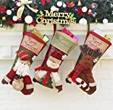 Sunne Christmas Stockings Cute 3D Christmas Decoration,Christmas Pop Socks Candy Gift for Xmas Hanging Ornament,Personalized Christmas Stocking for Kids(3 pack)