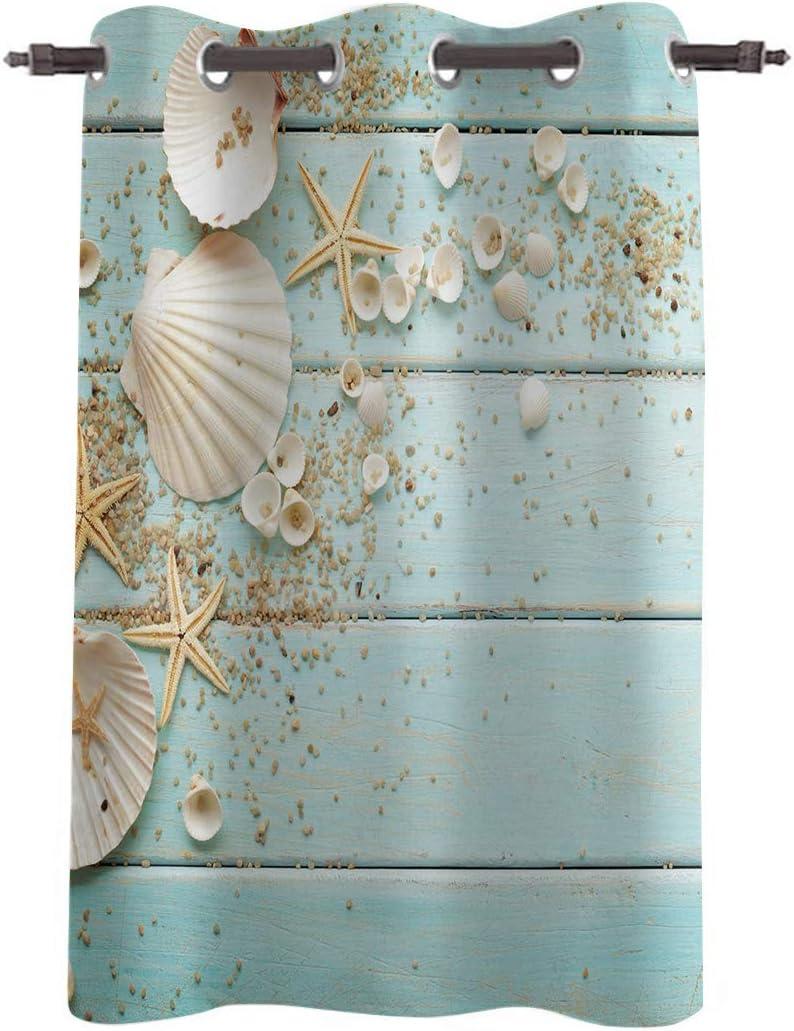 WARM TOUR Window Curtain Panel Coastal Seashell Starfish Printing Decor Durable Drapes for Bedroom Kitchen Living Room Blue Wood Board