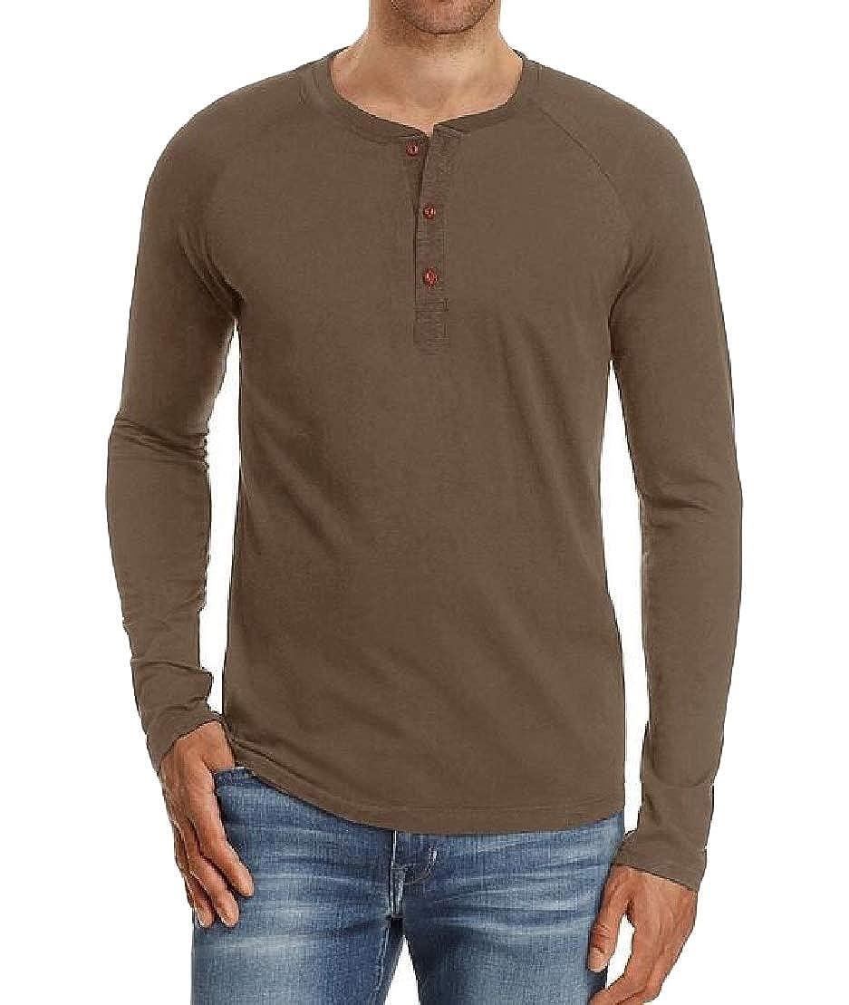 Wofupowga Mens Casual Slim Fit Long Sleeve Henley Shirts Cotton Shirts