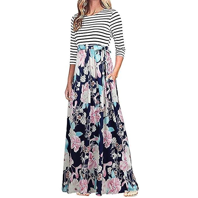 Oyedens Kleider Damen Blumen Kleid Boho Kleider Elegant Langarm Maxikleid  Floral Print Böhmischen Strand Maxi Kleid Casual Maxi-Kleid Schaufel Hals  Strecken ... fb54def412
