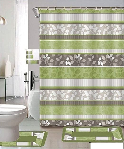 GREEN OMBRE STRIPED CERAMIC BATHROOM 3 PEICE SET
