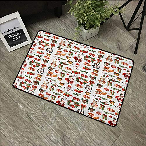 Hall mat W19 x L31 INCH Christmas,Traditional Celebratory Icons Rabbits Santa Claus Pine Cones Boxes Candles, Red Green Orange Easy to Clean, no Deformation, no Fading Non-Slip Door Mat Carpet