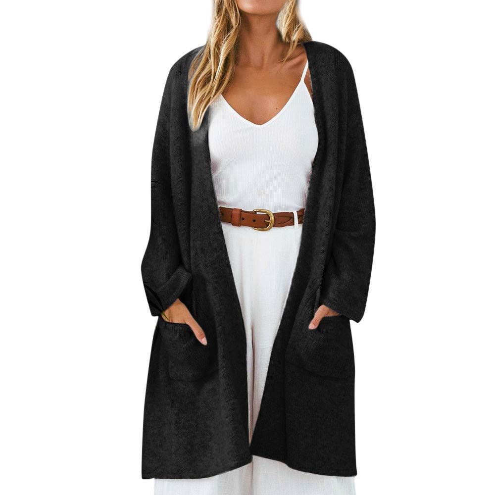 Clearance! Gallity Women's Sweaters Open Front Winter Coats Coat Elegant Thick Warm Outerwear Jacket Outwear Pocket (US:6, Black)