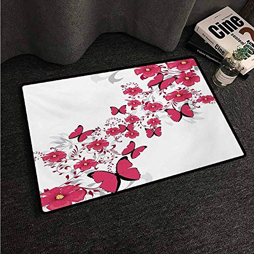 HCCJLCKS Printed Door mat Pink and White Flowers and Butterflies in an Abstract Romantic Composition Country Home Decor W31 xL47 Dark Coral Pale Grey Black