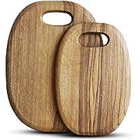 2 Pcs Best Teak Cutting Boards Round Wood Meat Cutting Board Handmade Wooden Chopping Boards for Pizza Bread Vegetable…
