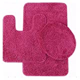 Bath Mat Sets 3 Piece Sweet Home Collection 3 Piece Shag Bathroom Rug set Fuschia Bath Mat, Contour & Seat Cover,,Fuschia