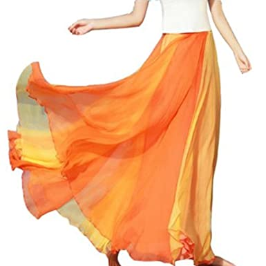 d2558469bc9 TOPTIE Full Circle Skirt Flowing Maxi Skirts Best Chiffon Skirt Orange
