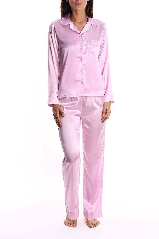 Blis Women s Satin Long Sleeve Sleep Shirt and Lounge Pants PJ Set - Ladies  Pajamas   Sleepwear at Amazon Women s Clothing store  450290d1b