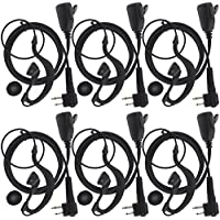 TENQ 2-pin G Shape Earpiece Headset for Motorola Radio CP88 CP040 CP100 CP110 CP125 CP140 CP150 CP160 CP180 CP200 CP250 CP300 (Pack of 6)