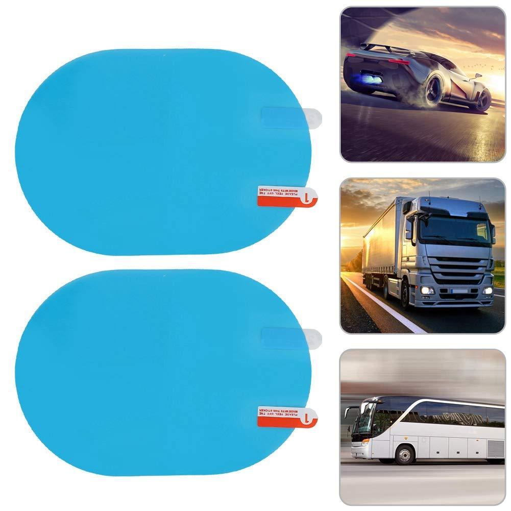 Pel/ícula protectora de lluvia de espejo retrovisor de coche Etiqueta antiniebla a prueba de lluvia 100x145 mm Azul oval Pel/ícula de lluvia de espejo retrovisor