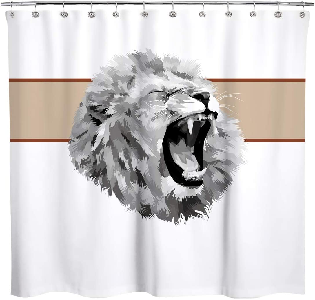 Sunlit Design Geometry Gray Roaring Lion Head with Brown Background Fabric Shower Curtain Modern Wild Style Bathroom Decoration Curtains