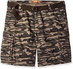 Lee Men\'s Big and Tall Dungarees New Belted Wyoming Cargo Short, Carbon Camo, 54W