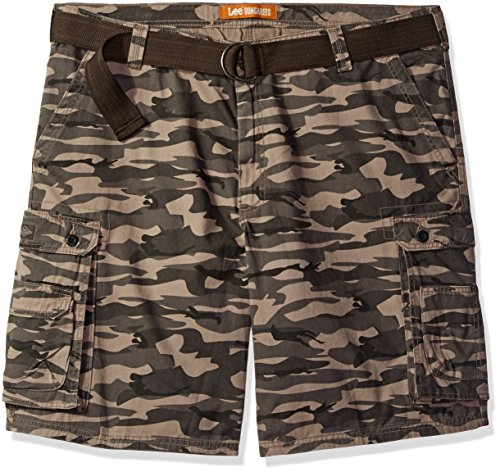 Lee Men's Big and Tall New Belted Wyoming Cargo Short, Carbon Camo, 44W