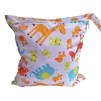 Doyime Baby Kleinkind Wasserdichtem Rei/ßverschluss wiederverwendbare Stoff Windel Tasche w//bunte Eulen Muster Hellblau