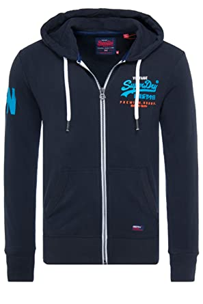 db573e612bc1 Superdry Men's Premium Goods Tri Lite Weight Full-Zip Hoodie (Eclipse Navy,  Small