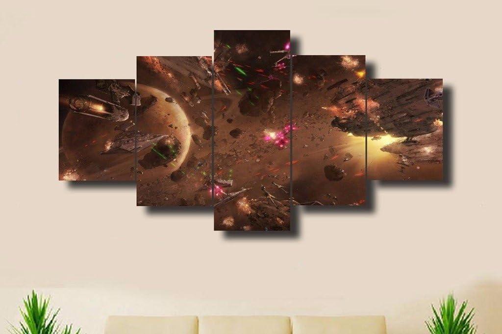 Epikkanvas Empowered Living - 5PCS Framed Starwars Battle V2 Canvas - 5 Piece Star Wars Battle Artwork for Office and Home Wall Decor (Medium: 2035cm x2pcs +2045cm x2pcs+2055cm x1pc)