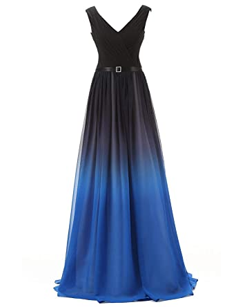 JoyVany Ombre Chiffon Pageant Dresses 2016 Long Gradient Homecoming Dresses Blue Size 2