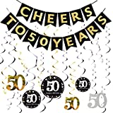 50th Birthday Decorations Cheers to 50 Years Banner with Sparkling Celebration 50 Hanging Swirls 50th Anniversary Party Supplies