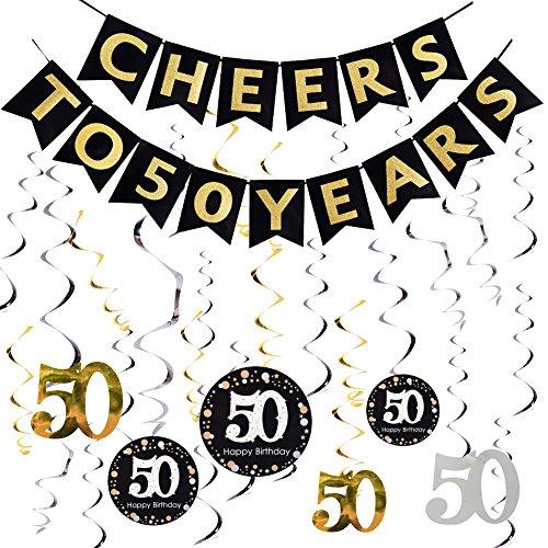 60th Birthday Decoration Konsait Hanging Swirl 15 Counts Happy 60