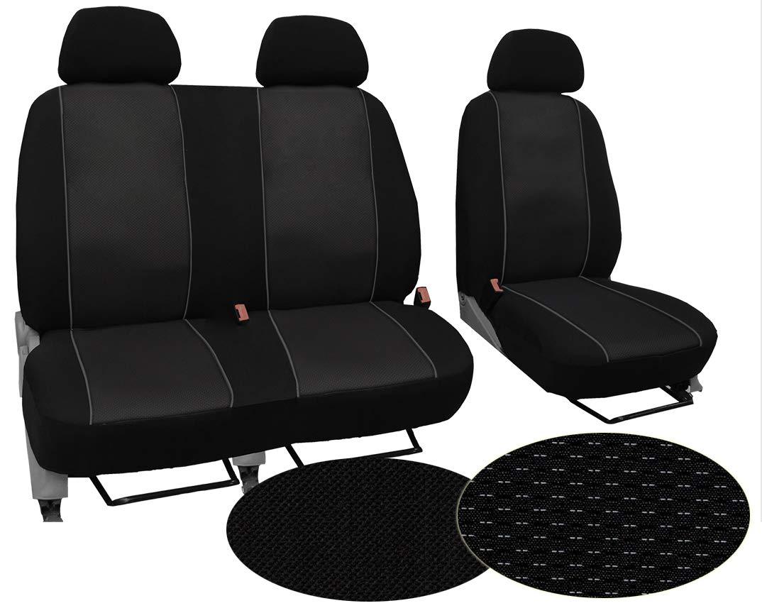 Schwarz EJP Passgenaue Sitzbez/üge f/ür Vivaro C ab 2019 Individuell gefertigt Bezug Fahrersitz und 2er Beifahrersitzbank Stoffart VIP Stoff.