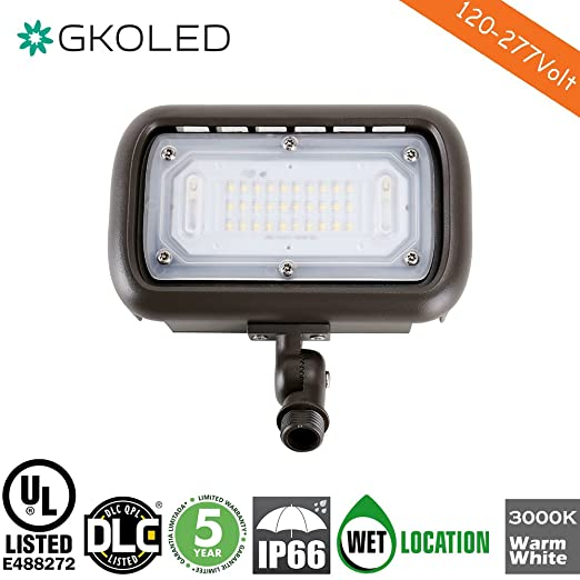 "30W LED Floodlight, Outdoor Security Fixture, Waterproof, 100W PSMH Replace, 2700 Lumens, 3000K Warm White, 70CRI, 120-277V, 1/2"" Adjustable Knuckle Mount, UL-listed, 5 Years Warranty"