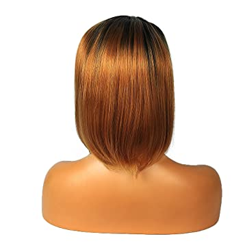 Life Diaries 250%Density Body Wave Ombre Color 10%Human Hair+90%Heat  Resistant Fiber Glueless Lace Front Synthetic Wig For Women(1B+Brown Color)