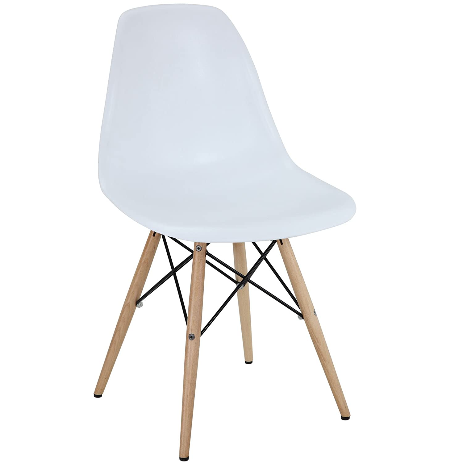 Plastic chair metal legs - Modway Plastic Side Chair In White With Wooden Base