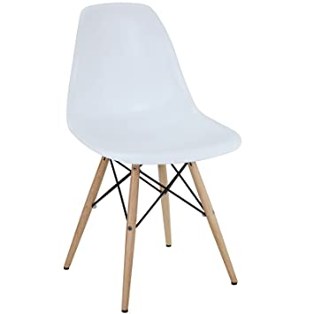 Amazon Com Modway Plastic Side Chair In White With Wooden Base
