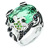 Cheryl M Sterling Silver Cz & Glass Simulated Blue Topaz Turtle Ring, Size 7