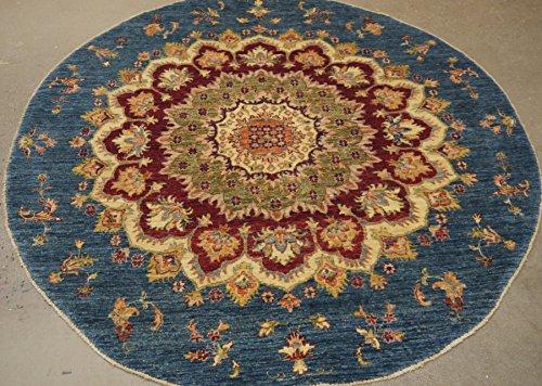 Babak's Oriental Carpets Chobi Ziegler Handmade Afghan Circular Round Rug 5'7