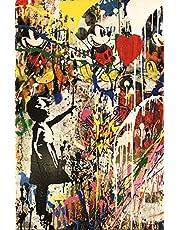 Regalo de pintura al óleo kits de números de pintura para niños adultos niña sosteniendo un globo pared graffiti impresiones artísticas modernas pinturas de lienzo de arte callejero en la pared f
