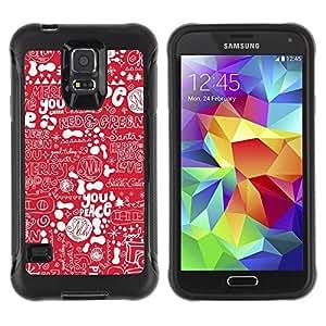 Suave TPU GEL Carcasa Funda Silicona Blando Estuche Caso de protección (para) Samsung Galaxy S5 V / CECELL Phone case / / red hope white text Christmas peace /