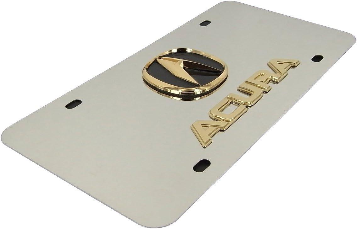 Chrome Name On Polished License Plate for Acura INC Gold Logo Au-Tomotive Gold