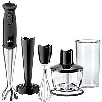 Braun Minipimer 5 MQ5137bk Sauce - Batidora de mano 750w, 21 velocidades, accesorio montanatas, pasapuré y picadora de 500 ml, vaso medidor 0,6 l, negro