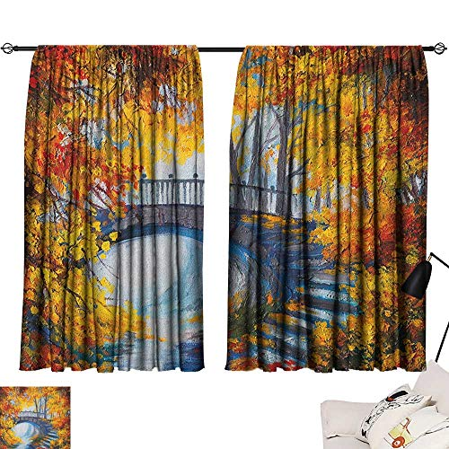 """Denruny Blackout Window Curtain Art,Autumn Forest with A Bridge Over Road Dramatic Season Shady Leaves Print, Marigold Vermilion Blue 54""""x63"""",Bedroom Blackout Curtains"""