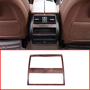 Oak Grain YUECHI Car Rear Row Air Conditioning Outlet Vent Frame Sticker BMW 5 Series F10 520 525 2011-2017 ABS Interior Accessories