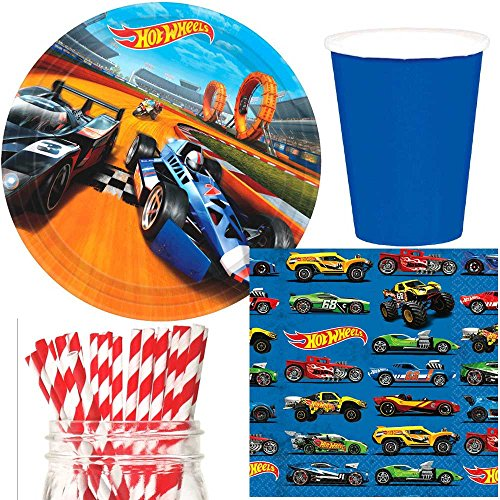 Hot Wheels Party Supplies Bundle, Plates, Napkins, Cups & Straws for 16 -