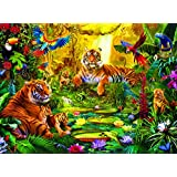 Buffalo Games Signature Series Tiger Family in the Jungle, 1000-Piece Jigsaw Puzzle