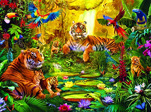 Buffalo Games - Signature Collection - Tiger Family in the Jungle - 1000 Piece Jigsaw Puzzle by Buffalo Games