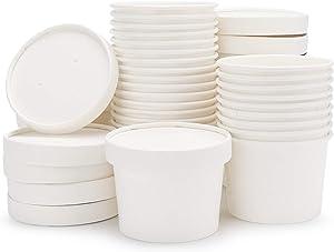 Paper Ice Cream Cups with Lids, Eusoar 25pcs 8 Ounce Ice Cream Freezer Containers, Frozen Dessert Containers for Ice Cream, Meal Prep Cup, Soup and Food Storage Cups