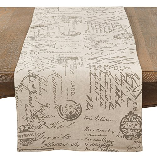 SARO LIFESTYLE Vintage Script Print Design Table Runner 16
