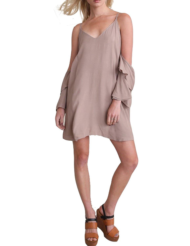 Amazon.com: HaoDuoYi Womens Spaghetti Strap Frill Backless Plain Mini Dress: Clothing