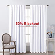 NICETOWN Dining Room Window Curtains - (White Color) W52 x L84, Set of 2, Semi Blackout Window Treatment Drapery Panels for Hall Room