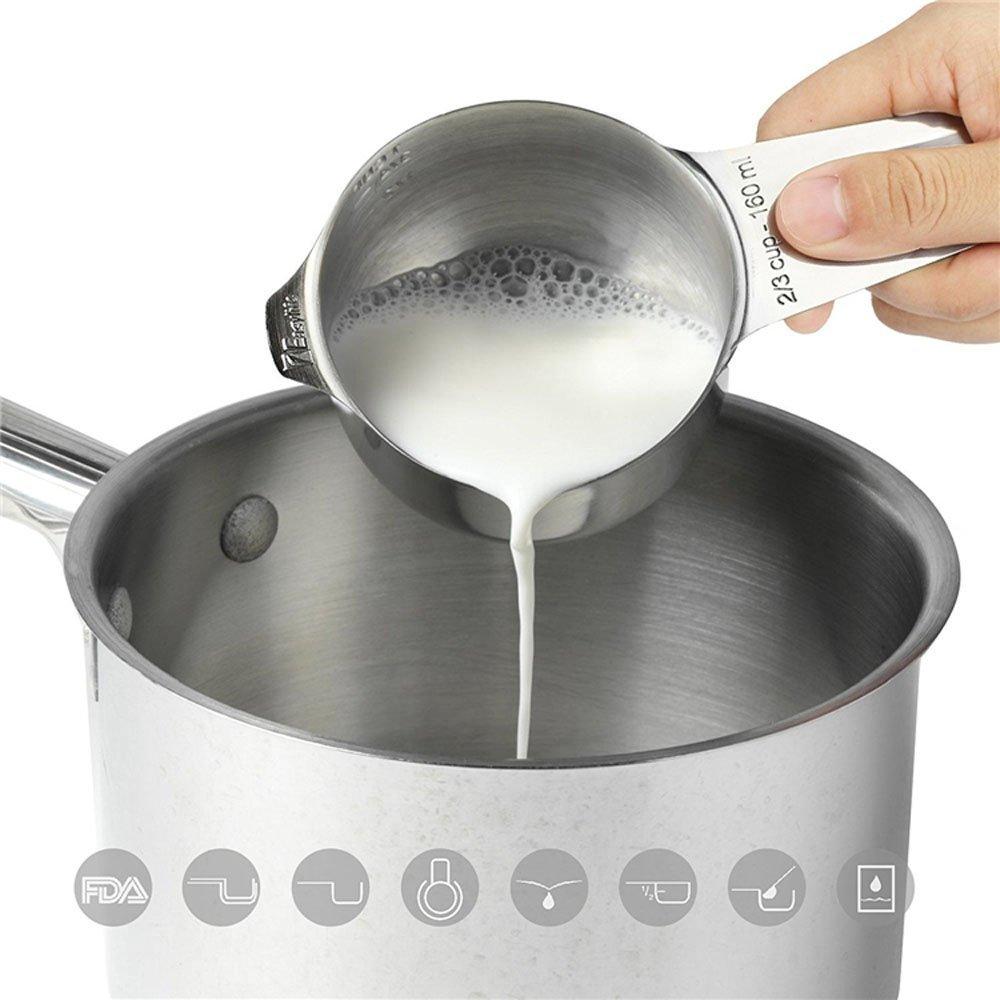 Measuring Cups and Measuring Spoons Set – 13 pcs Stainless Steel + FREE Antibacterial Dishwashing Sponge by AY-Global