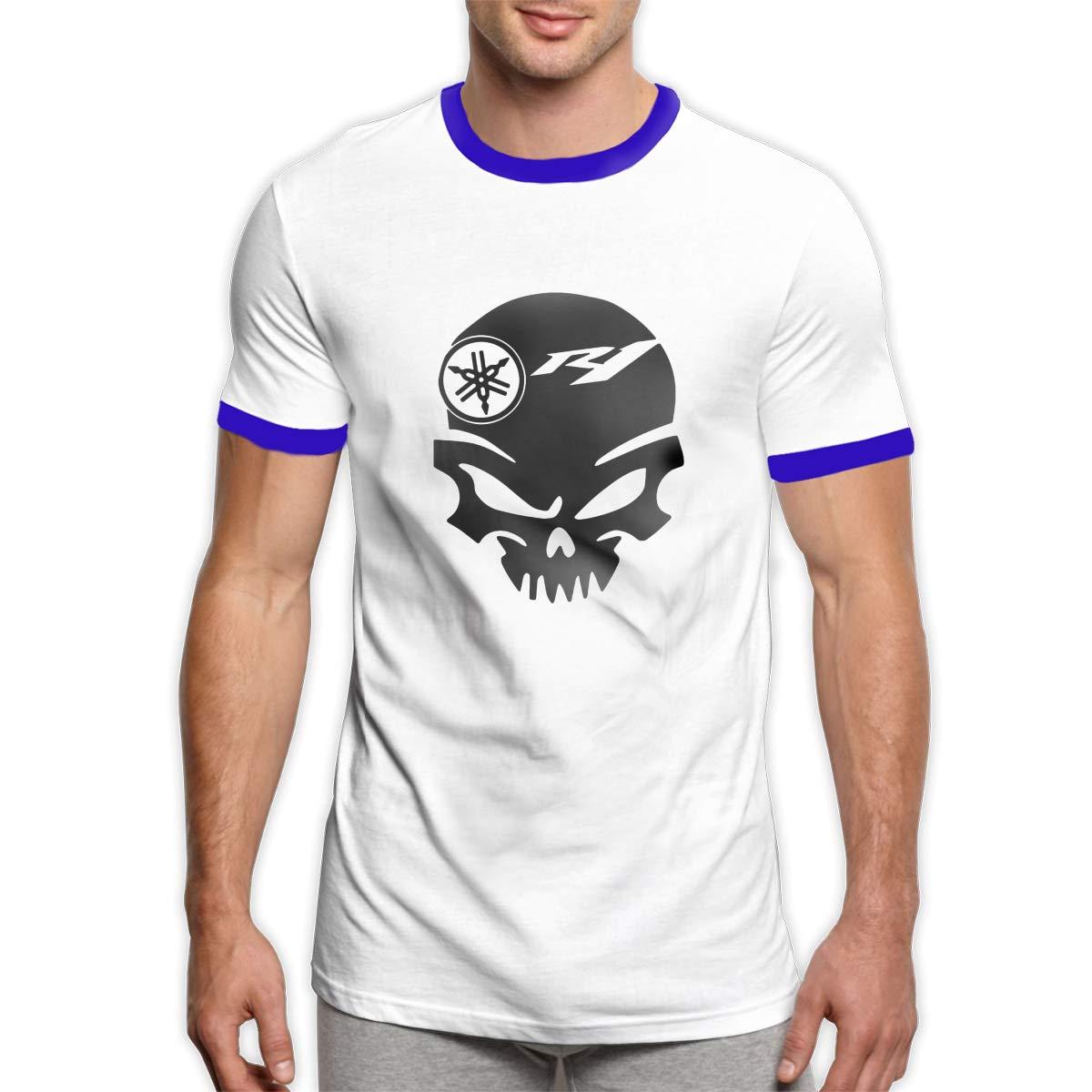 TIANXIN Customized Yamaha Motorsports R1 Skull Logo T Shirt Short Sleeve 100/% Cotton for Mens Black