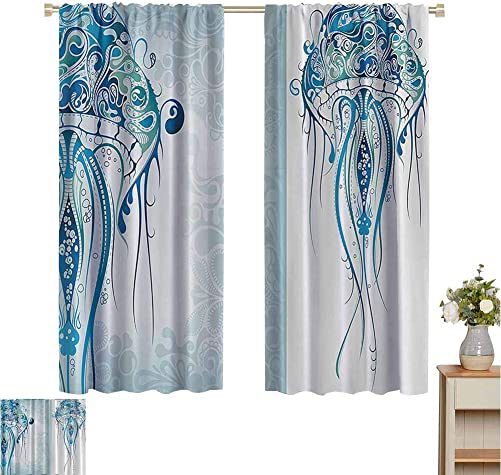 Sea Creatures Artistic Nautical Coastal Country Curtain Ocean Jellyfish with Paisley Pattern Theme Insulating Darkening Curtains W63 x L72 Marine Blue White