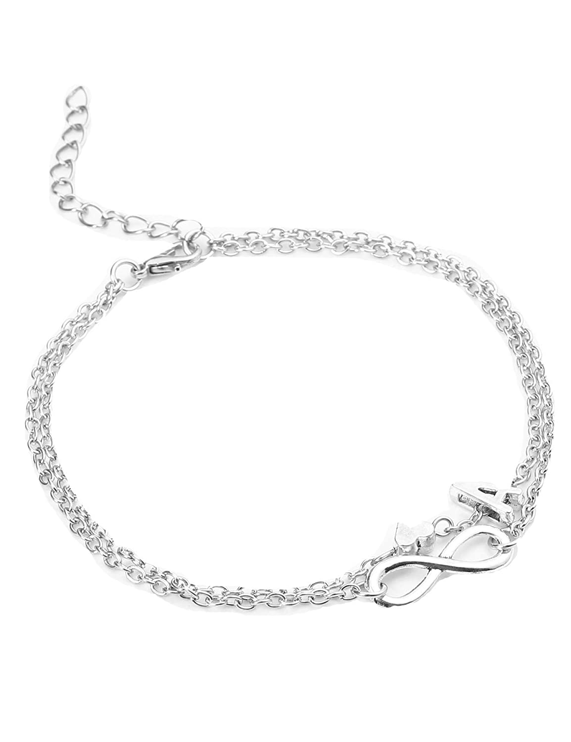 YENJO Love Heart Letter Ankle Chain Double Layer Barefoot Beach Anklet Jewelry Anklets A-Z