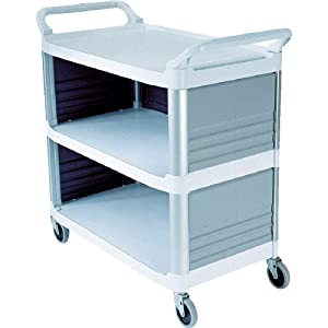 Rubbermaid Commercial Xtra Utility Cart with Enclosed End Panels, White, FG409300OWHT
