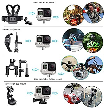 Erligpowht Action Camera Mounts For Gopro 6 Gopro Hero 5 4 3 Gopro Hero Session Sj4000 Sj5000 Akaso Apeman Xiaomi Yi Wimius Sony Sports Dv With Gopro Hero Accessories Carry Case 4